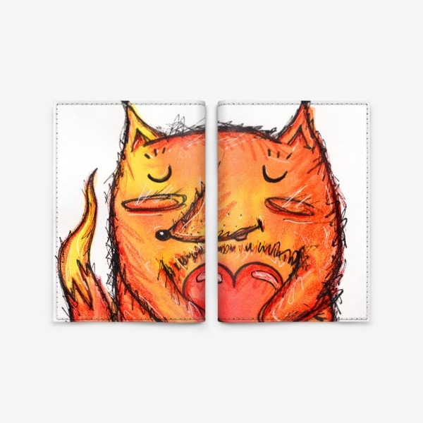 Обложка для паспорта «Акварельный лисёнок с сердцем»