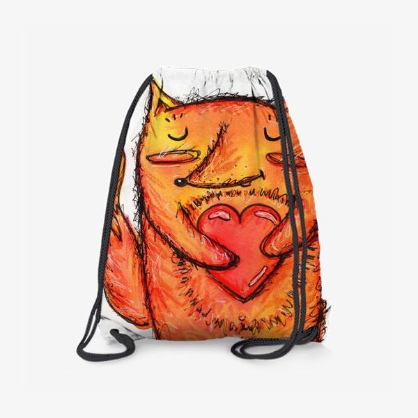 Рюкзак «Акварельный лисёнок с сердцем»