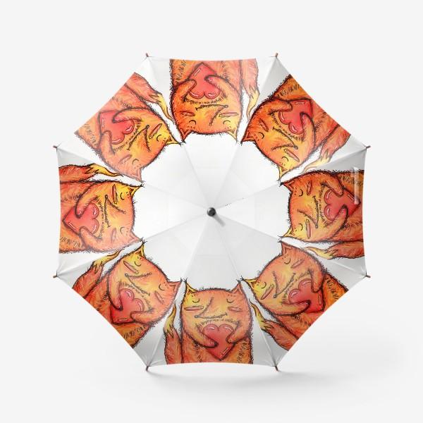 Зонт «Акварельный лисёнок с сердцем»