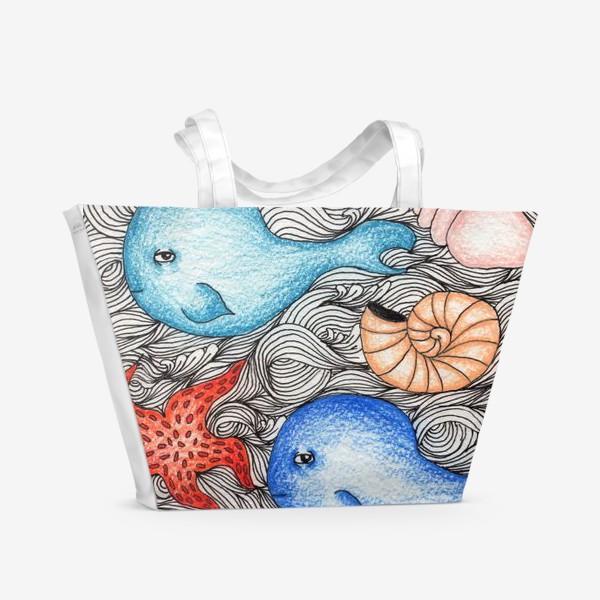 Пляжная сумка «Киты и ракушки»