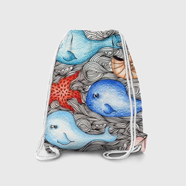 Рюкзак «Киты и ракушки»