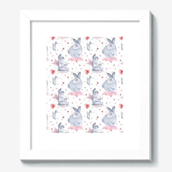 Картина «Влюбленные зайцы2 (заяц, кролик, любовь, сердце)»