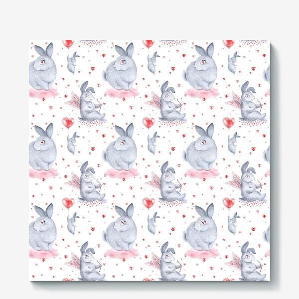 Холст «Влюбленные зайцы2 (заяц, кролик, любовь, сердце)»