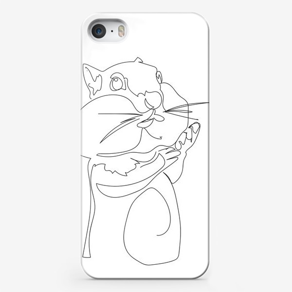 Чехол iPhone «Хомяк. Графика. Линейный рисунок»