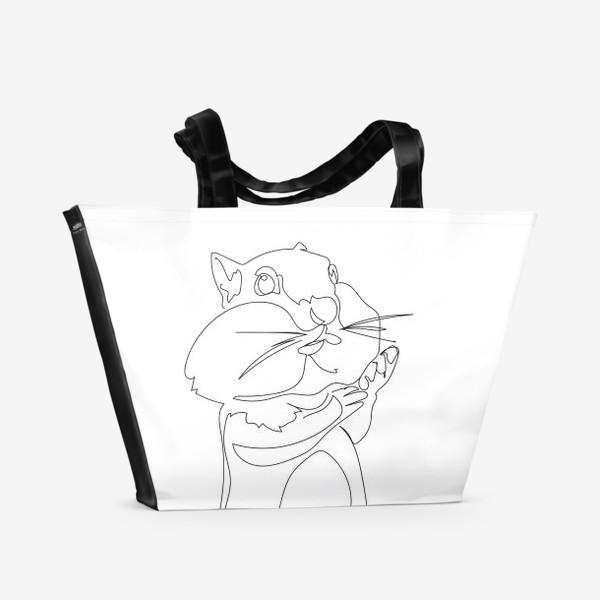 Пляжная сумка «Хомяк. Графика. Линейный рисунок»