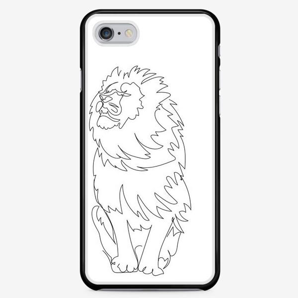 Чехол iPhone «Лев. Графика. Линейный рисунок»