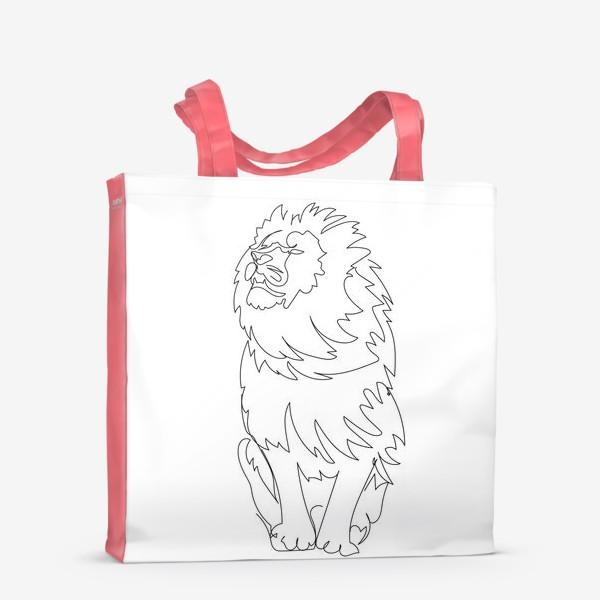 Сумка-шоппер «Лев. Графика. Линейный рисунок»