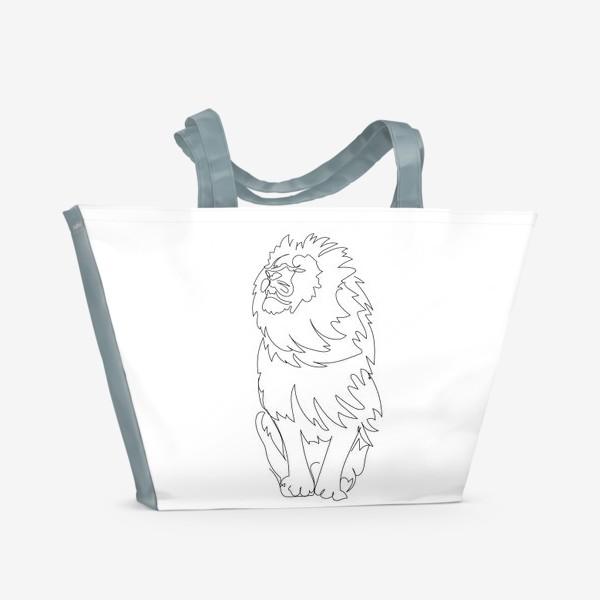 Пляжная сумка «Лев. Графика. Линейный рисунок»