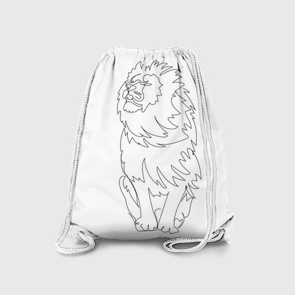 Рюкзак «Лев. Графика. Линейный рисунок»