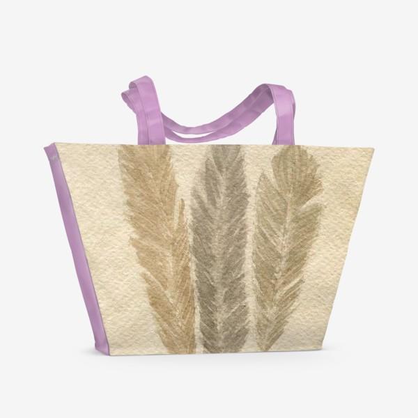 Пляжная сумка « Кофейные перья »