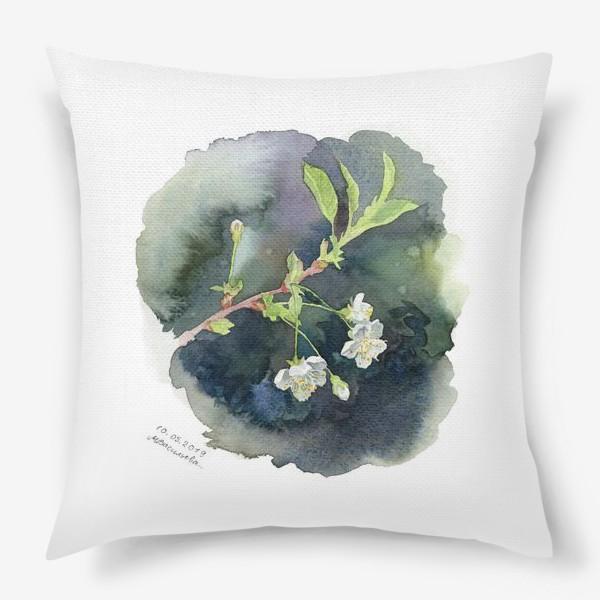 Подушка «Цветущая вишня акварельная»