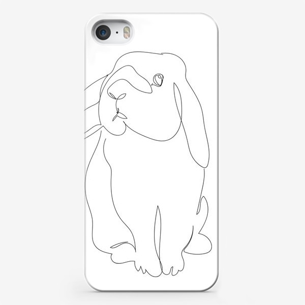 Чехол iPhone «Кролик. Графика. Линейный рисунок»