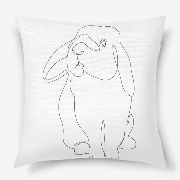 Подушка «Кролик. Графика. Линейный рисунок»
