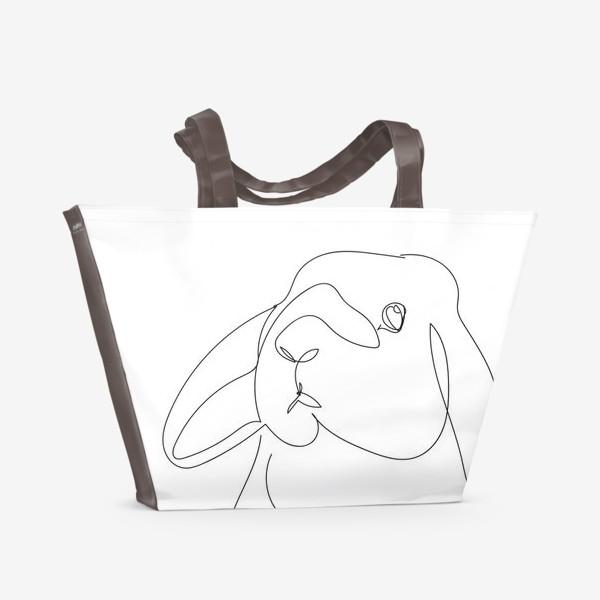 Пляжная сумка «Кролик. Графика. Линейный рисунок»