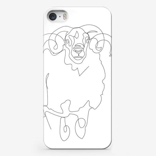 Чехол iPhone «Линейный рисунок. Баран.»