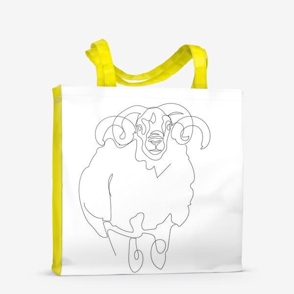 Сумка-шоппер «Линейный рисунок. Баран.»