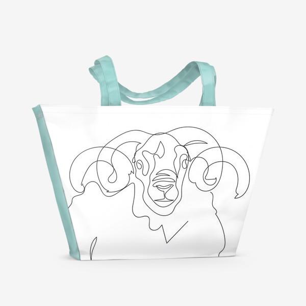 Пляжная сумка «Линейный рисунок. Баран.»