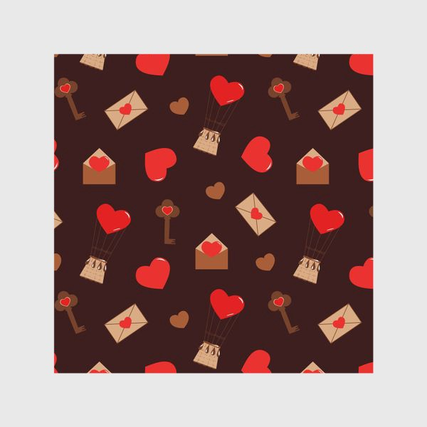Шторы «паттерн сердечки, конверты, ключи, любовь»
