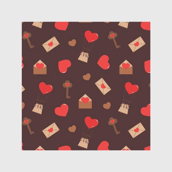 Скатерть «паттерн сердечки, конверты, ключи, любовь»