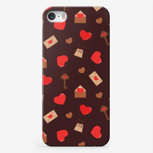 Чехол iPhone «паттерн сердечки, конверты, ключи, любовь»