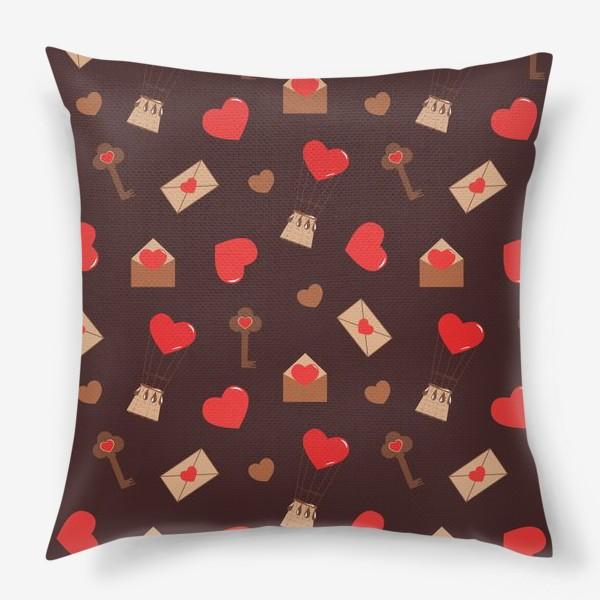 Подушка «паттерн сердечки, конверты, ключи, любовь»