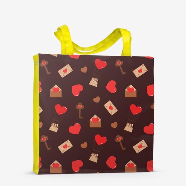 Сумка-шоппер «паттерн сердечки, конверты, ключи, любовь»
