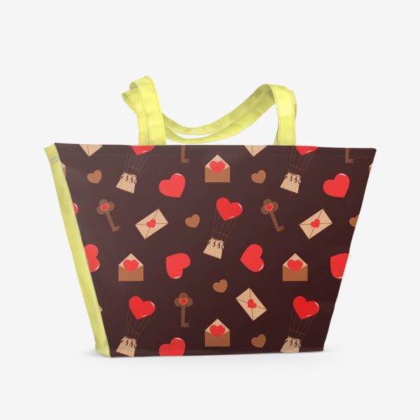 Пляжная сумка «паттерн сердечки, конверты, ключи, любовь»