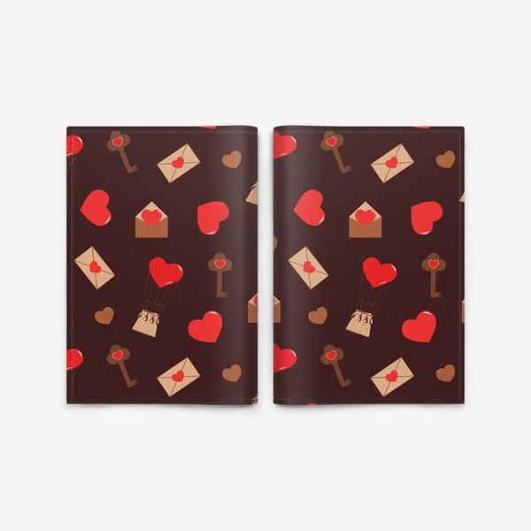 Обложка для паспорта «паттерн сердечки, конверты, ключи, любовь»