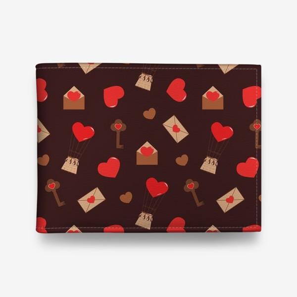 Кошелек «паттерн сердечки, конверты, ключи, любовь»