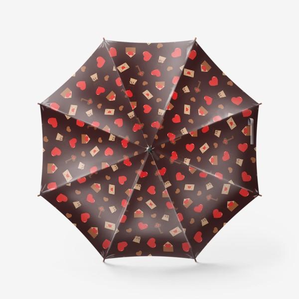 Зонт «паттерн сердечки, конверты, ключи, любовь»