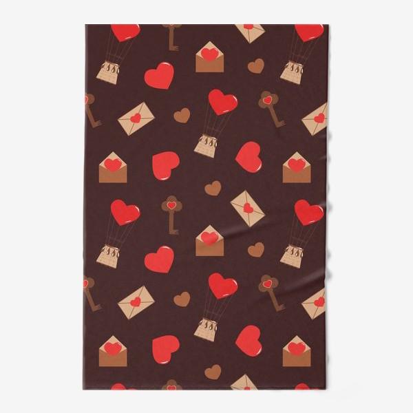 Полотенце «паттерн сердечки, конверты, ключи, любовь»