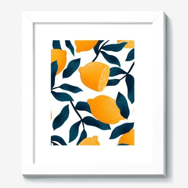 Картина «Узор с лимонами на белом фоне»
