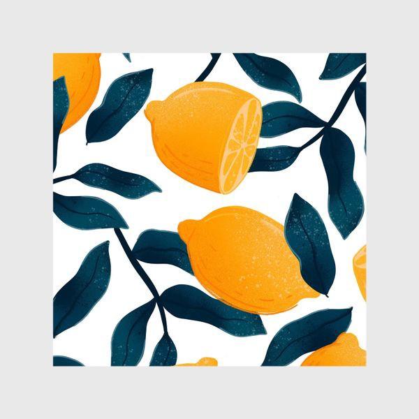 Шторы «Узор с лимонами на белом фоне»