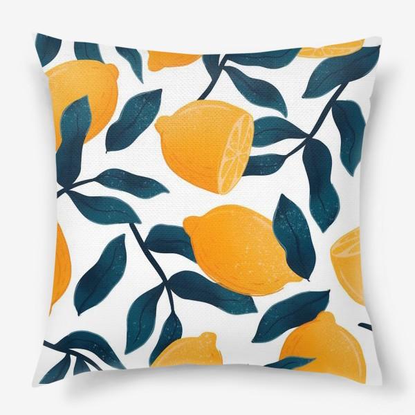 Подушка «Узор с лимонами на белом фоне»