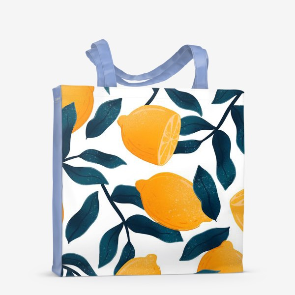 Сумка-шоппер «Узор с лимонами на белом фоне»