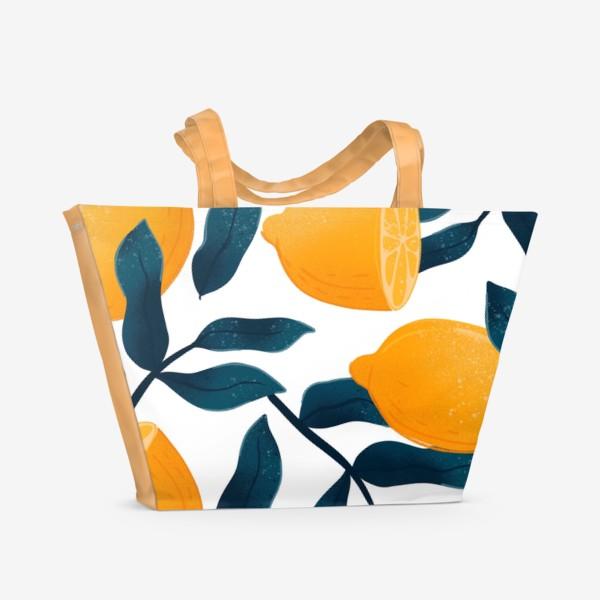 Пляжная сумка «Узор с лимонами на белом фоне»