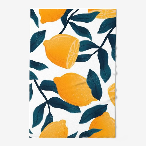 Полотенце «Узор с лимонами на белом фоне»