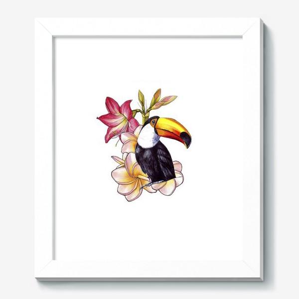 Картина «Тропические цветы и тукан»