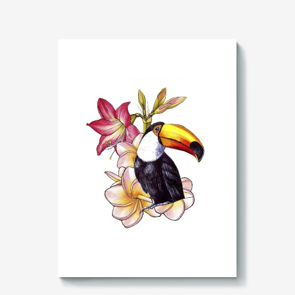 Холст «Тропические цветы и тукан»