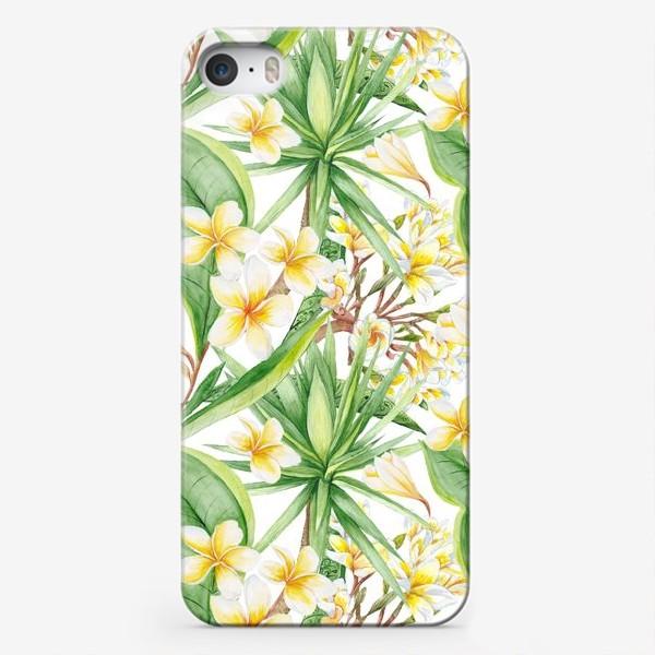 Чехол iPhone «Тропический акварельный паттерн с юккой и плюмерией»