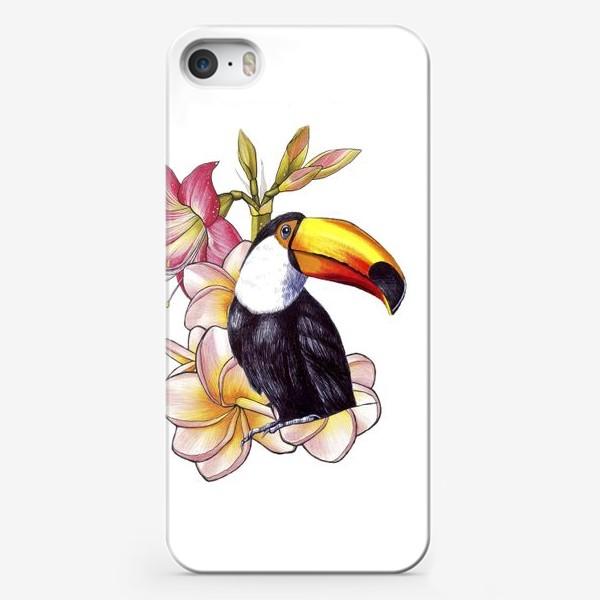 Чехол iPhone «Тропические цветы и тукан»