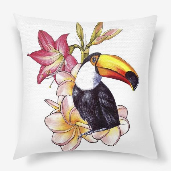 Подушка «Тропические цветы и тукан»