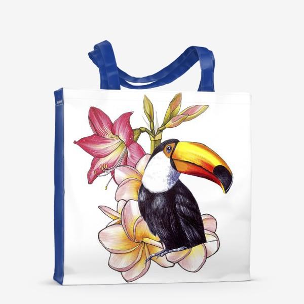 Сумка-шоппер «Тропические цветы и тукан»