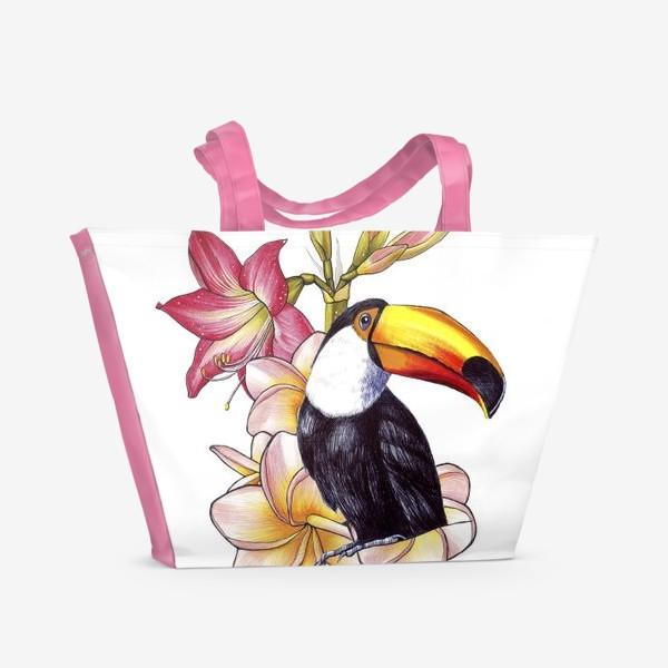 Пляжная сумка «Тропические цветы и тукан»