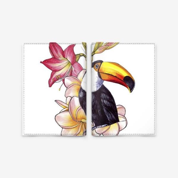 Обложка для паспорта «Тропические цветы и тукан»