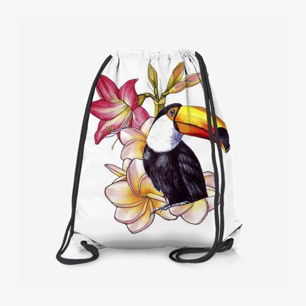 Рюкзак «Тропические цветы и тукан»