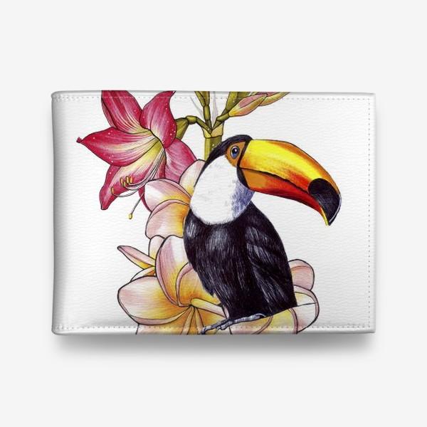 Кошелек «Тропические цветы и тукан»