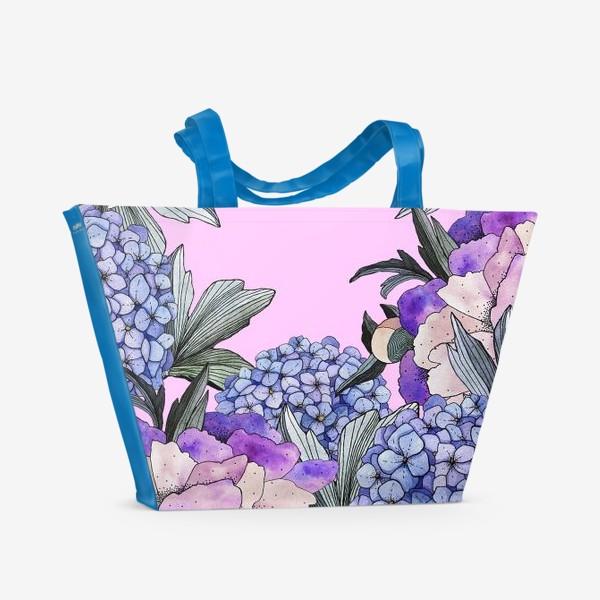 Пляжная сумка «Пионы и гортензии»