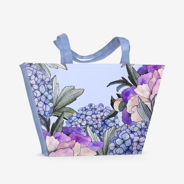 Пляжная сумка «Гортензии и пионы»