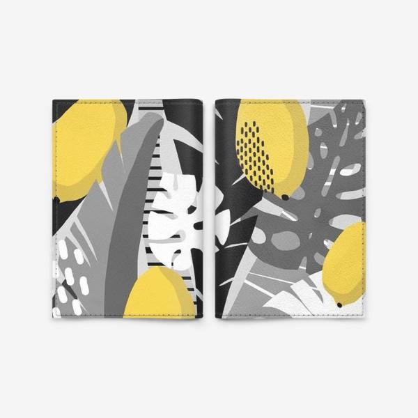 Обложка для паспорта «Лимоны на черно-белом фоне»